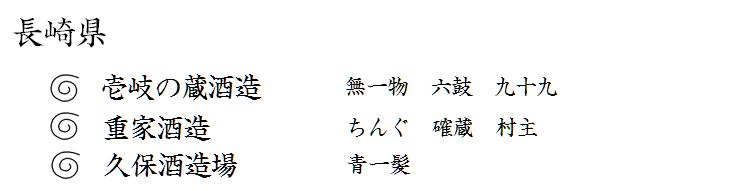 長崎県。壱岐の蔵酒造。無一物。六鼓。九十九。重家酒造。ちんぐ。確蔵。村主。久保酒造場。青一髪。